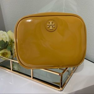Tory Burch large cosmetic bag. Mustard color.